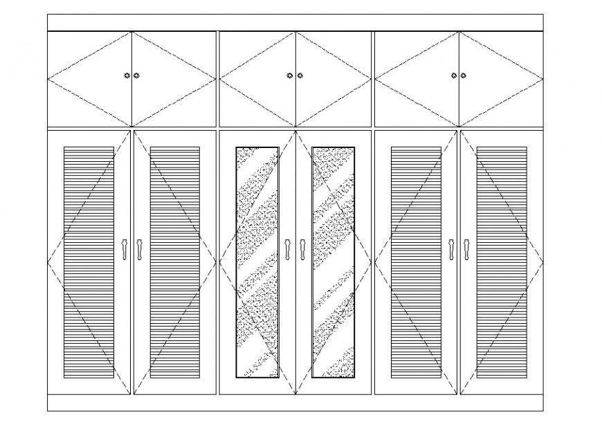 Large bedroom wardrobe main elevation cad drawing details dwg file