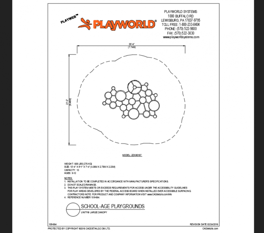 Large canopy top view model play area equipment details dwg file