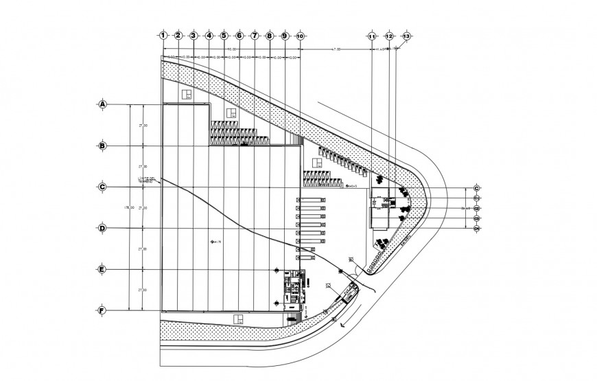 Large factory warehouse architecture layout plan cad drawing details dwg file