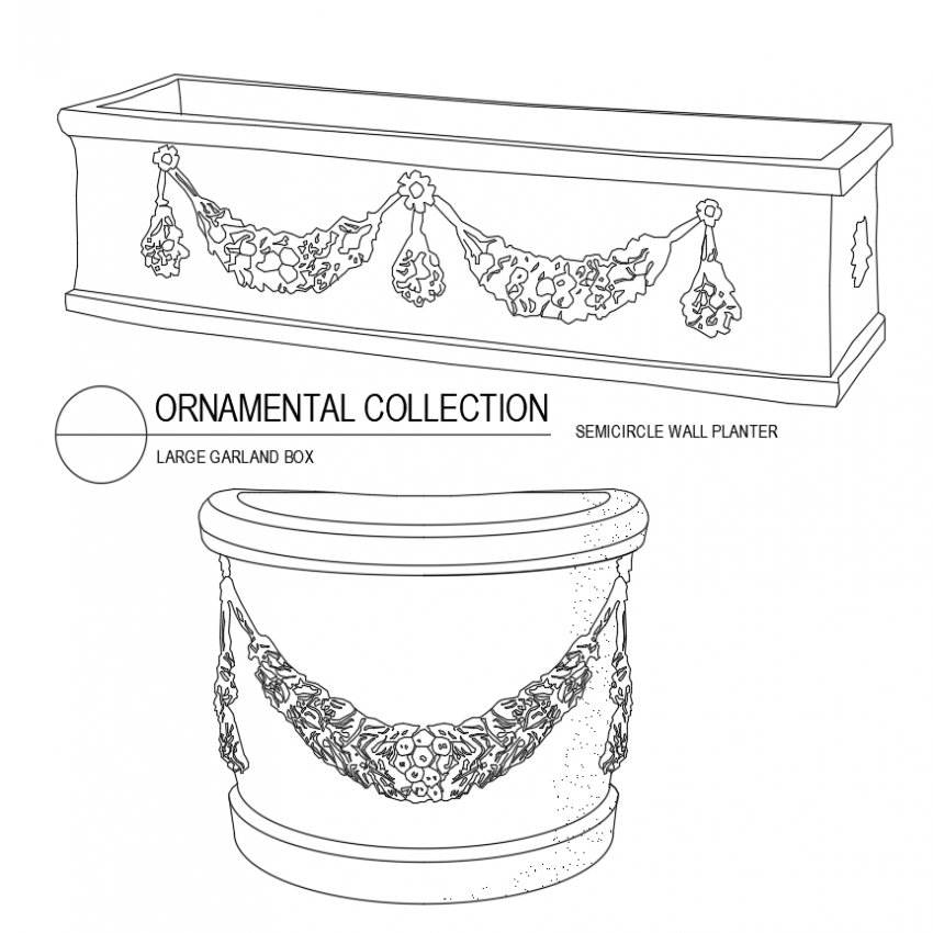 Large garland box and semi circle wall planter isometric view dwg file