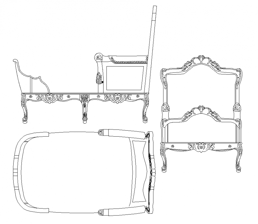 Large long recliner detail CAD blocks layout file