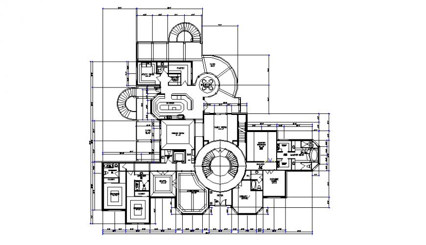 Large mansion plan drawing in dwg file.