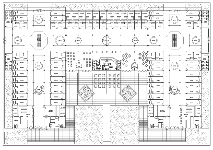 Large scale commercial building drawing in dwg file.