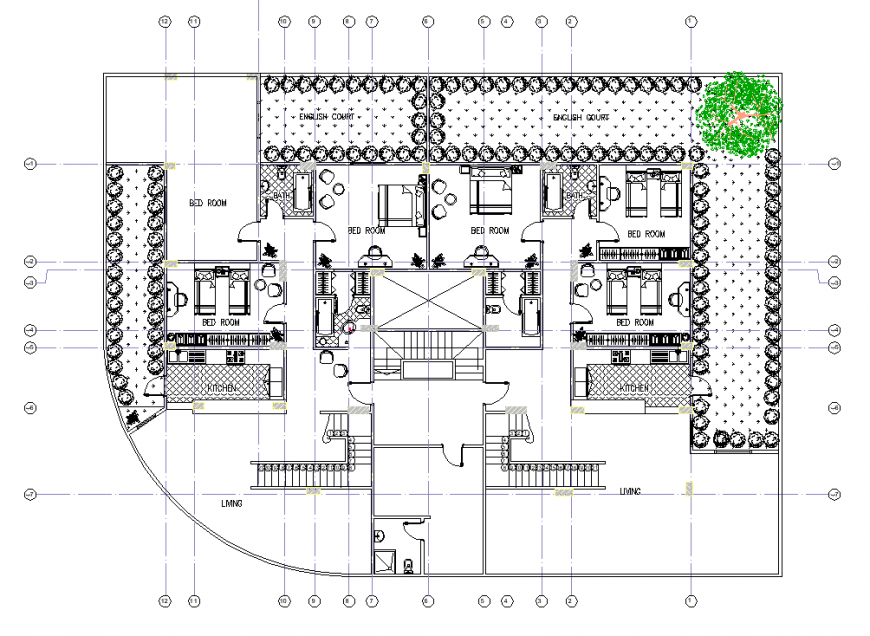 Large villa drawing in dwg file.