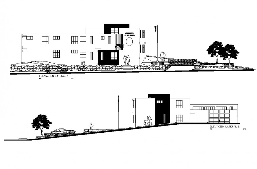Lateral both sided elevation details of commissioner office building dwg file