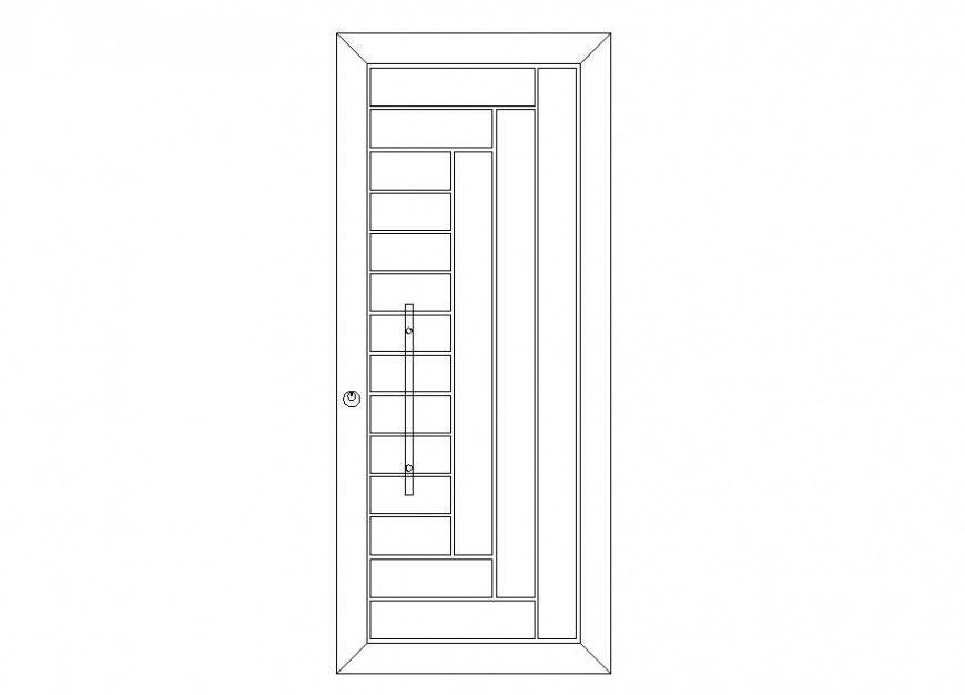 Latest design of a door front view detail dwg file