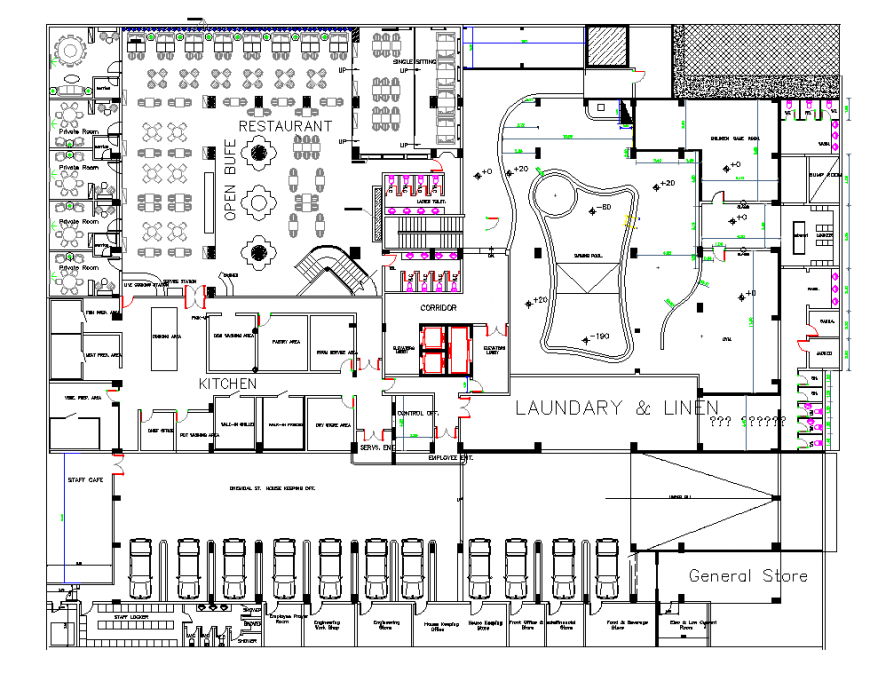 Laundry and lines planning autocad file