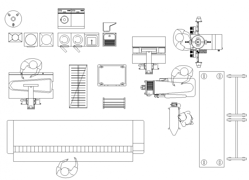 Laundry equipment detail elevation dwg file