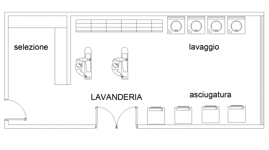 Laundry plan detail elevation dwg file