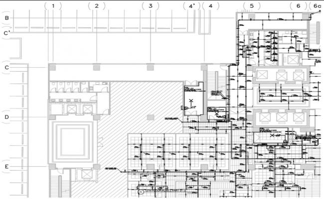 layout of building with overall detail of Firefighting system.