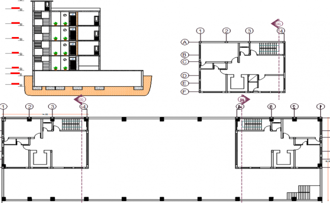 layout plan and elevation of building dwg file