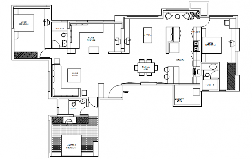 Layout CAD drawings of house 2d view autocad softwrae file