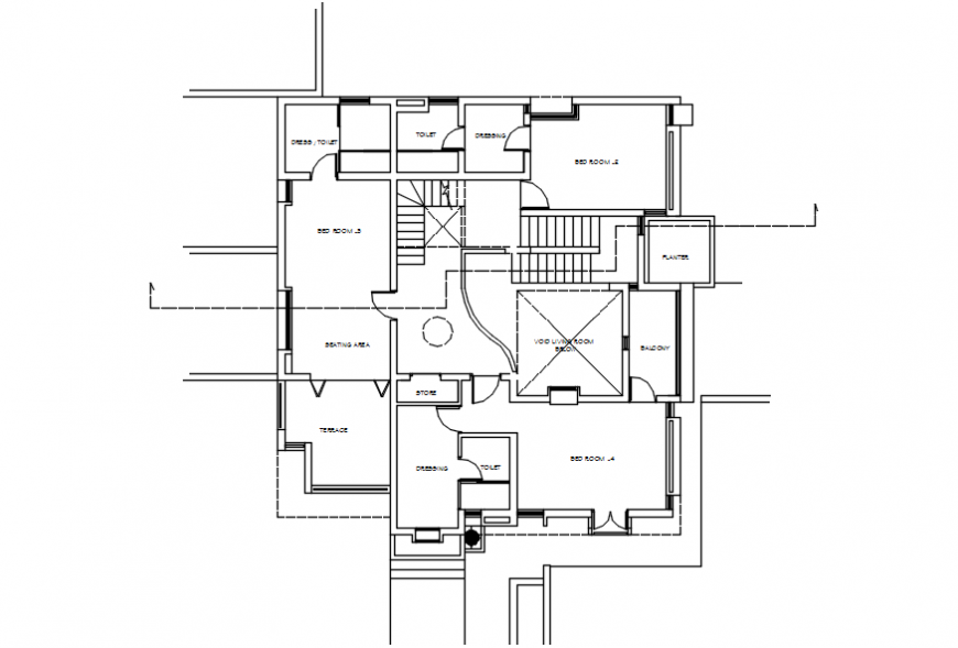 Layout CAD drawings of housing bungalow autocad software file