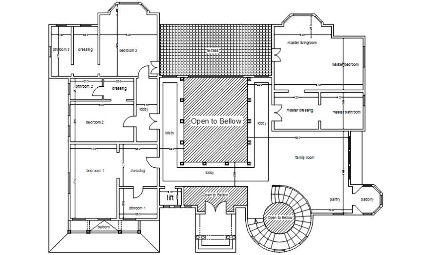 Layout CAD house plan 2d view autocad software file