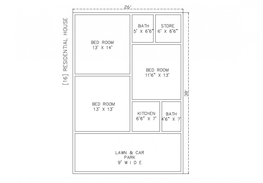 Layout CAD house plan drawings in autocad file