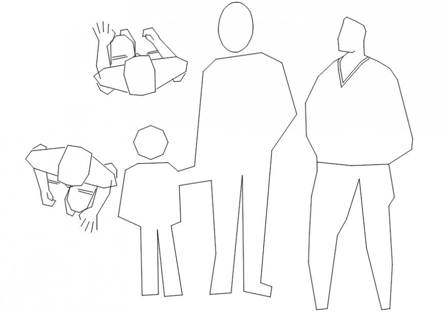 Layout detailing of people blocks 2d CAD drawings dwg file
