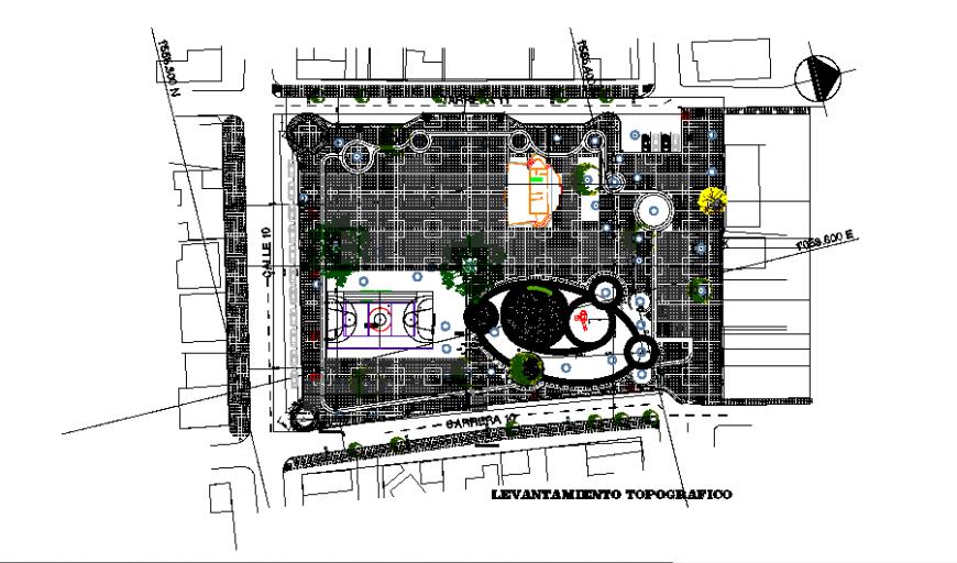Layout drawing of public garden in dwg file.
