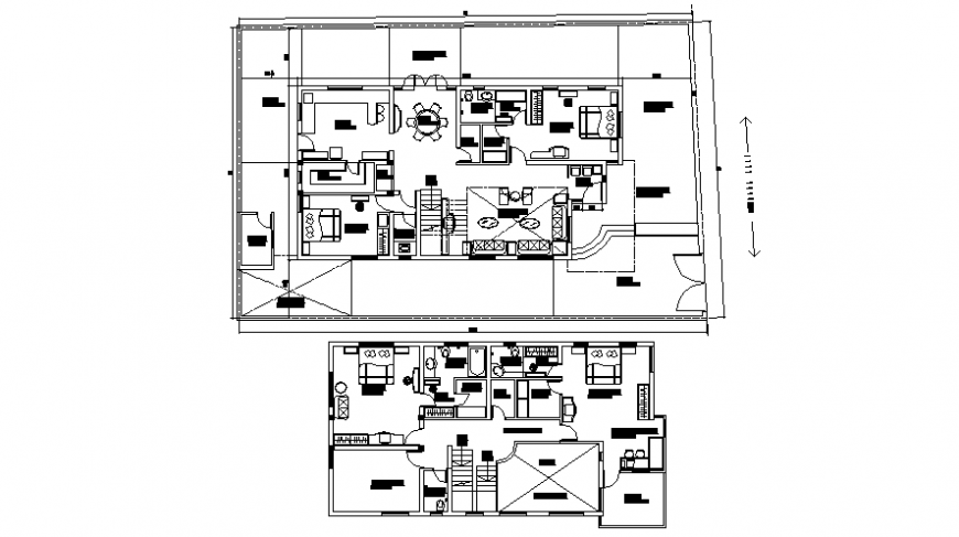 Layout drawings detail 2d view plan of house autocad file