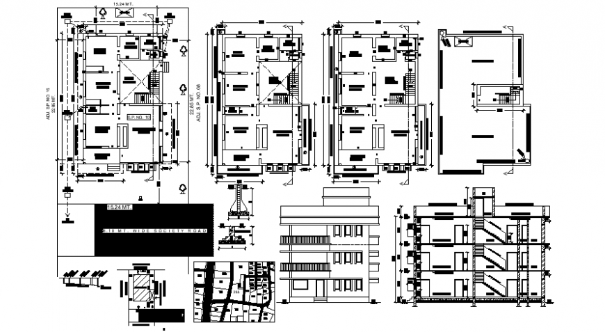 Layout drawings of house plan elevation and section dwg autocad file