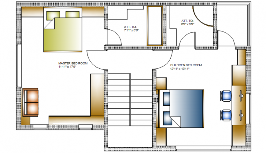 Layout house 2d view floor plan autocad software file
