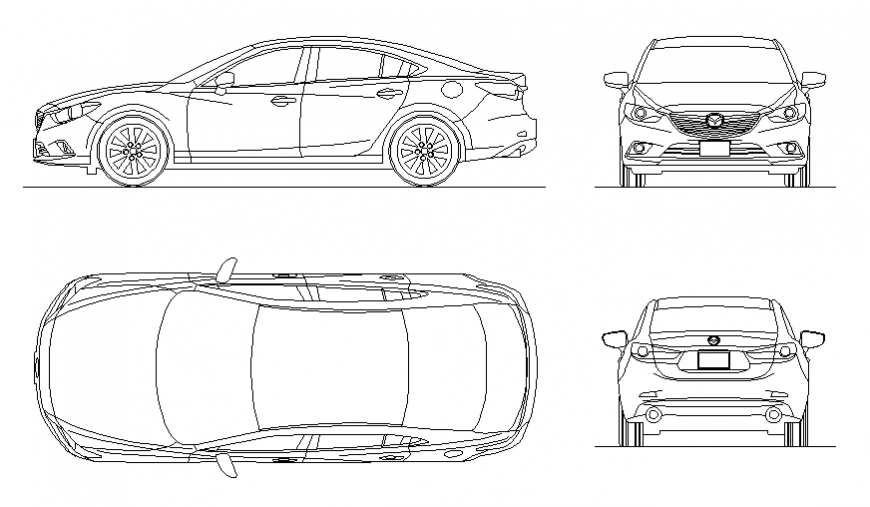 layout of mazda car detail dwg file