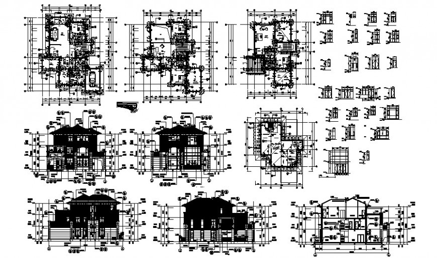 Layout plan, elevation and sectional detail of house drawing in autocad