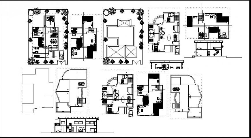 Layout plan and elevation of bungalow