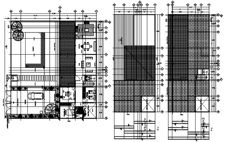 Layout plan and roof detailing of residence project autocad file