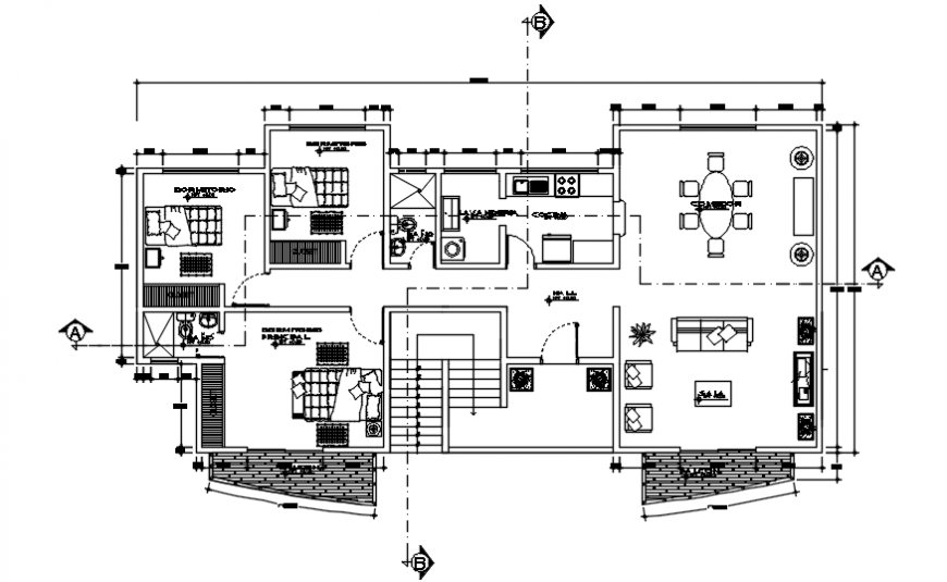 Layout plan drawings of three bhk house 2d view autocad software file