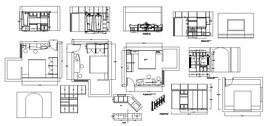 Layout plan for house portions and furniture layout cad drawing details dwg file