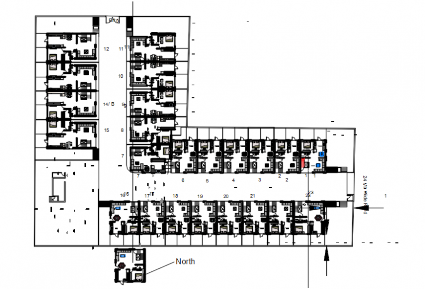 layout plan of a hotel 2d details model