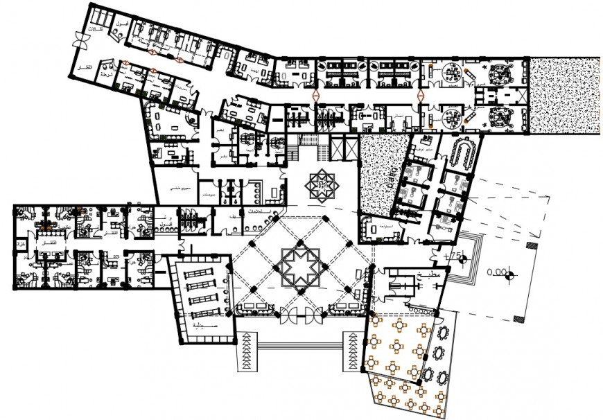 layout plan of a hotel 2d plan view