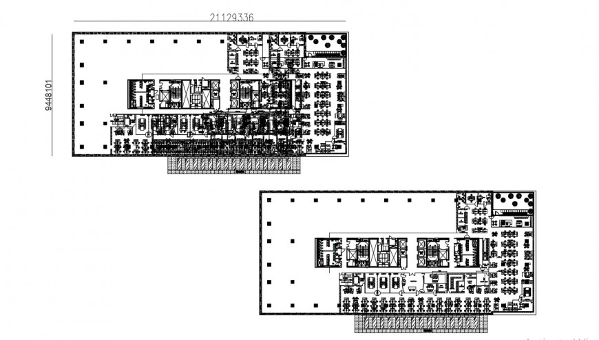 Layout plan of corporation building in dwg file