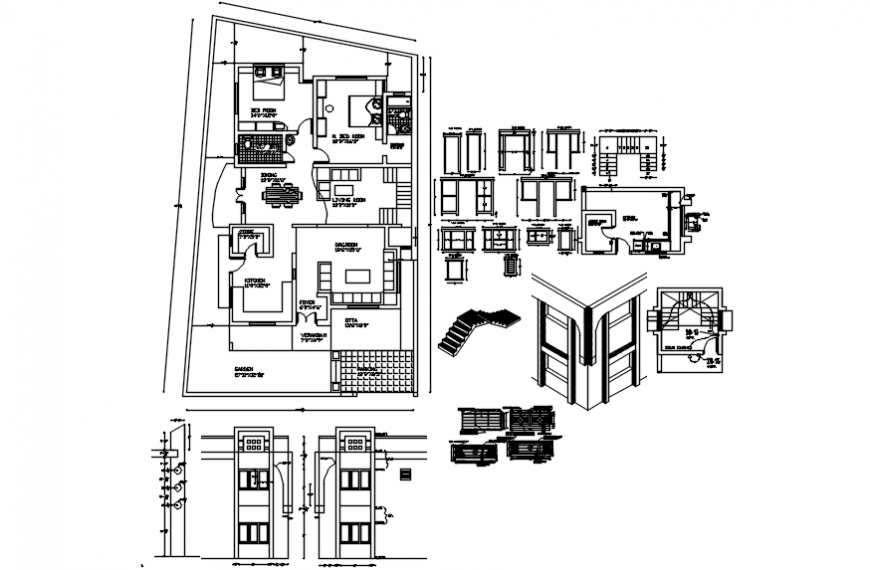 Layout plan of furniture detail with elevation design cad file