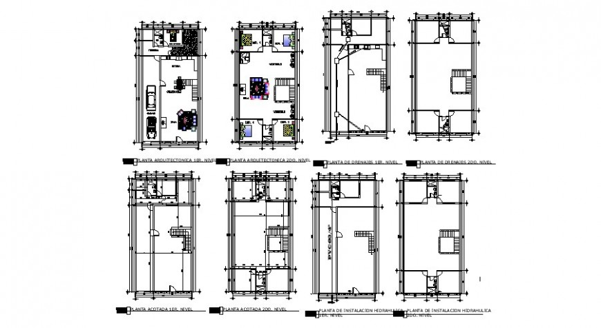 Layout plan of housing apartment 2d view autocad file
