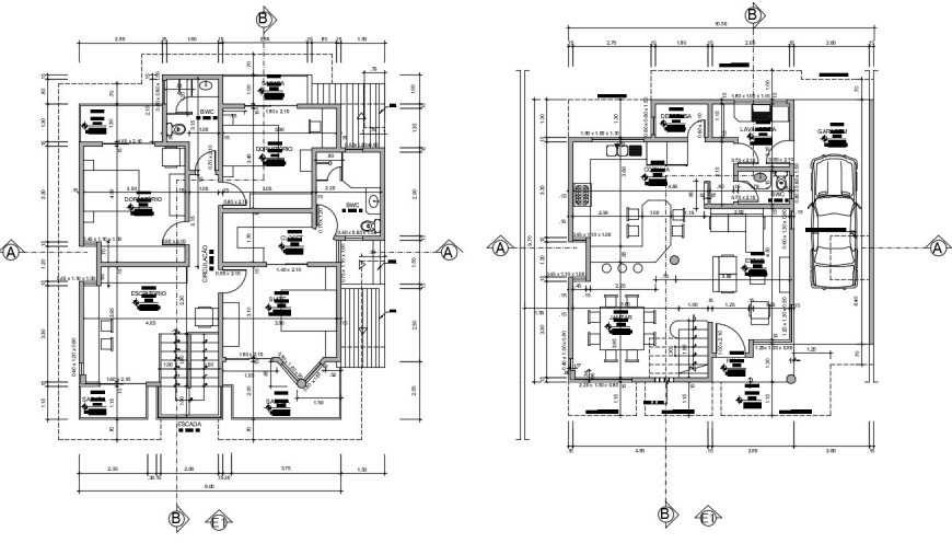 Layout plan of housing bungalow 2d view autocad software file