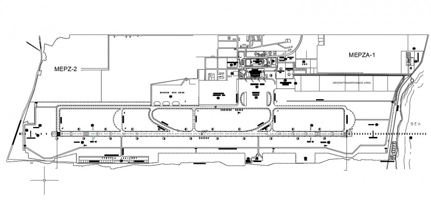 Layout plan of the airport area in dwg file