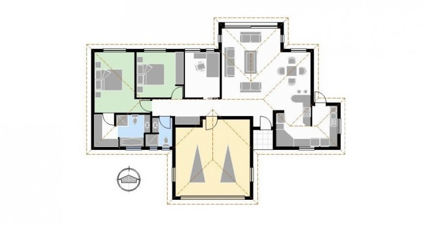 layout plan with furniture detail cad file