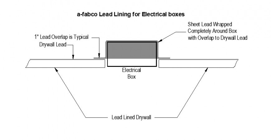 Lead Lining for Electrical boxes with dry wall in auto cad file