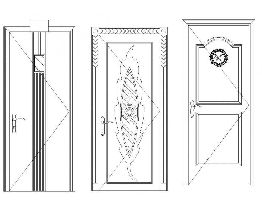 Leaf design door elevation autocad file