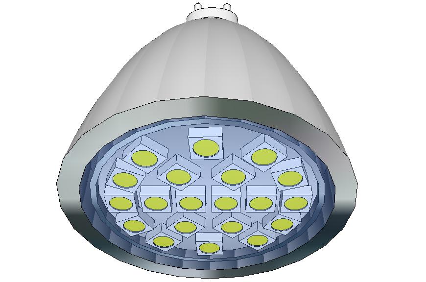 LED spotlight block 3d drawing details dwg file