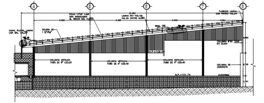 Left side cut constructive details of detached house dwg file