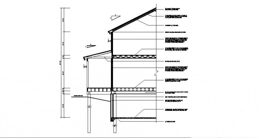 Left side cut constructive section details of house dwg file