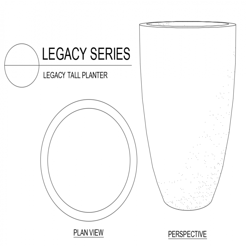 Legacy tall planter plan with perspective view dwg file