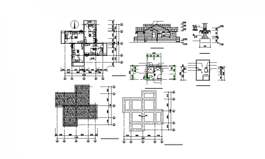 Leisure villa elevation, section, plan and auto-cad details dwg file