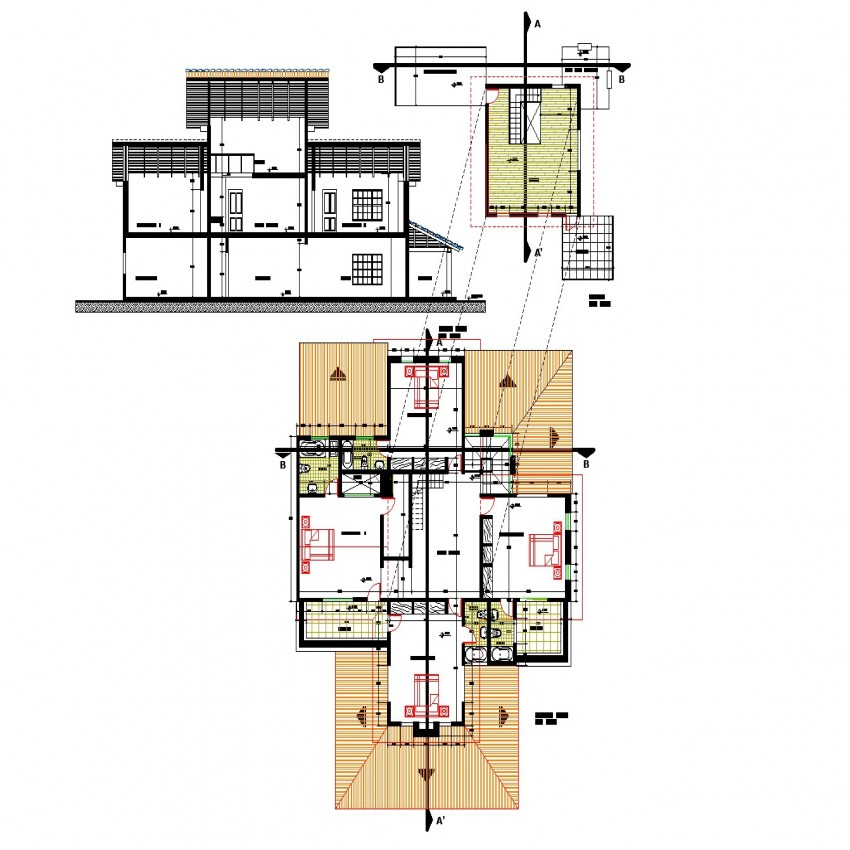 Level of house plan detail dwg file.
