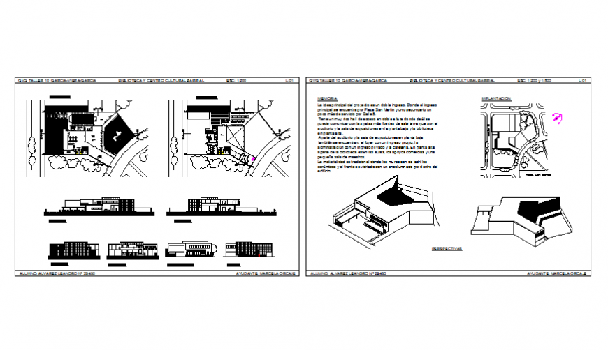 Library and cultural center all sided elevation, section and layout plan details dwg file