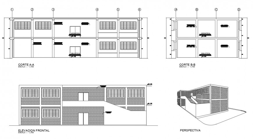Library isometric elevation, front elevation and sections drawing details dwg file