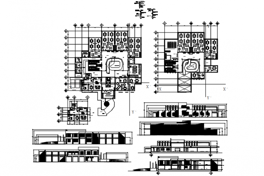 Library plan and elevation in auto cad file