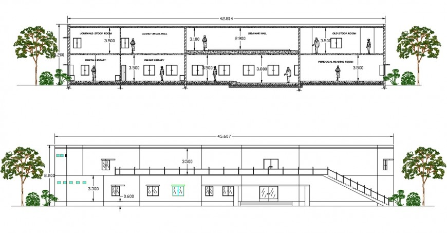 library section plan and elevation design cad file